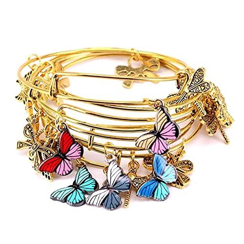 SONGK 5 Piezas Brazalete de Color Dorado Conjunto de Pulseras de Brazalete de Alambre Ajustable para Mujer joyería de Moda brazaletes de Regalo