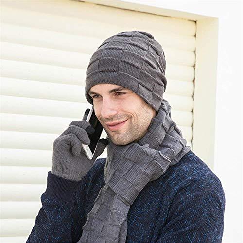 AOXQ Beanie Herren Winter 3-teilige Herren Skullies Mützen Wintermützen Strickmützen & Schals Handschuhe Mütze Schals Handschuhe, C