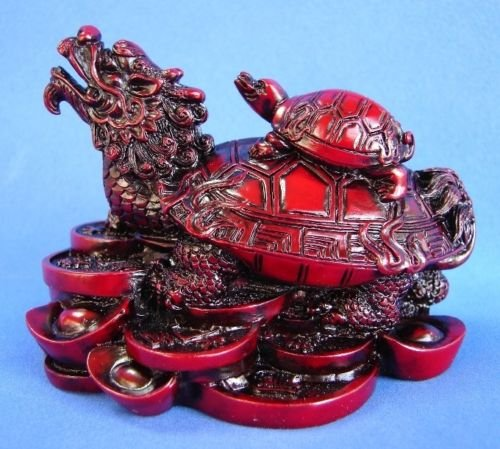 Monkey King TM Feng Shui Dragon Turtle Tortoise Statue Figurine Standing on a bed of Coins and Gold Ingots Lucky Wealth (RED)