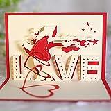 KUNSTIFY Tarjeta de felicitación 3D desplegable de regalo para novia, aniversario, hombre, mujer, padre, madre, pareja, boda, regalo de amor, declaración de amor, regalos de boda, corazón beso (amor)