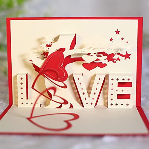 KUNSTIFY Tarjeta de felicitación 3D desplegable de regalo para novia, aniversario, hombre, mujer, padre, madre, pareja, boda, regalo de amor, declaración de amor, regalos de boda, corazón beso