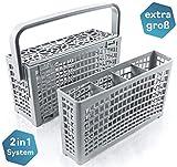 La cesta cubiertos lavavajillas original de Plemont [23x8,5 & 4,5x13,5cm] Cesta de lavavajillas universal con una innovadora solución 2 en 1- Cesta lavavajillas fabricado con plástico resistente