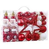 Victor's Workshop 100Pcs Bolas de Navidad Set, Adornos de Navidad para Arbol, Decoración de Bolas de Navideños Inastillable Plástico de Rojo y Blanco, Regalos de Colgantes de Navidad (Oh Ciervo)