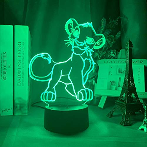 Lampe Illusion D'optique Effet 3D Led Simba Lion King Autour De La Main Convient Pour Chambre Enfants, Amis, Anniversaires, Cadeaux Saint Valentin-Base Noire + Télécommande_Lion Marche