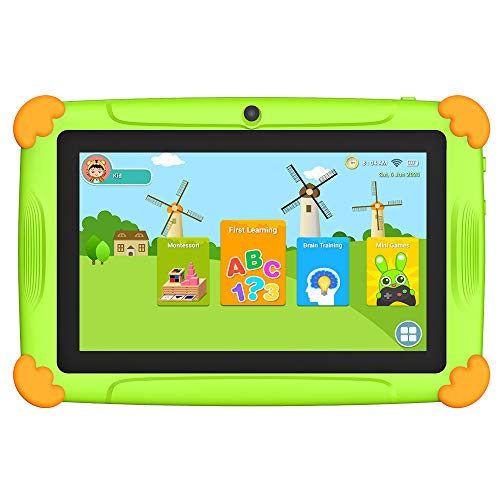 Tablet niños con Wifi 3 GB Ram 32 GO Rom Tablet para niños 7 pulgadas Android-Google Play y control parental, Youtube, Quad Core Tableta - Verde