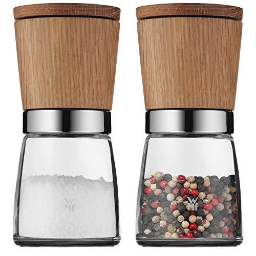 WMF Ceramill Nature Salz und Pfeffer Mühle Set 2-teilig, unbefüllt, für Salz, Pfeffer, Chilli, Salzmühle, Pfeffermühle Holz, Keramikmahlwerk
