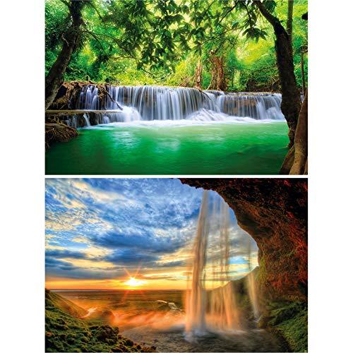 GREAT ART 2er Set XXL Poster – Wasserfälle – Paradies & Sonnenaufgang Natur Regenwald Thailand Island Felsen Landschaft Garten Eden Idylle Dekoration Foto Wanddeko (140 x 100cm)