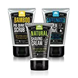 Pacific Shaving Company Daily Shave Regimen Set - Bamboo Pre-Shave Scrub, 3 oz (1 Unit) | Natural Shaving Cream, 3.4 oz (1 Unit) | Caffeinated Aftershave, 3.4 oz (1 Unit)