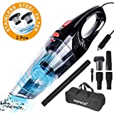 GSPSCN Handheld Car Vacuum 6500PA 12V Auto Corded Vacuum Cleaner kit with 2Pcs Stainless Steel Filter,High Power Wet Dry Vacuum Cleaner for Car Cleaning (Black red)
