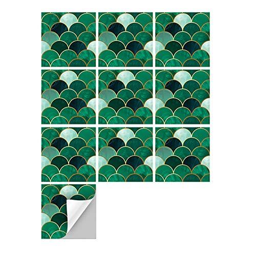 Ancoree Vergoldung Smaragd Fischschuppen Wandaufkleber, Städtischen Ziegel Fliesen Transfers Aufkleber für Sofa Hintergrund Schlafzimmer, Selbstklebende Splashback Fliesen Aufkleber (D,60pcs)