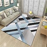 Kunsen Decoracion Bebe habitacion alfombras Bebe Decoración del Dormitorio de la Sala de Estar de la Alfombra Rectangular Azul Gris Durable habitacion Infantil 120X160CM 3ft 11.2' X5ft 3'