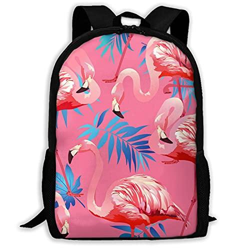 VJSDIUD Flamingo Bird And Tropical Flowers Pink Travel Zaino Cartellas for Teens Kids Boys Girls, Casual Daypack Zainos Bookbag, Water Resistant College Travel Daypack