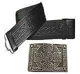 Cinturón de piel y hebilla, muchos tamaños y diseños para elegir Negro Negro en relieve con hebilla de nudo celta antigua. 116,84 cm