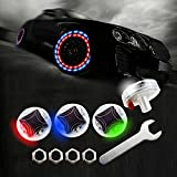 LEADTOPS Car Tire Wheel Lights, 4-pack Solar Energy Motion Sensors Flashing Colorful Gas Nozzle LED Tire Schrader Valve Cap Lights Lamp Bulb Waterproof for Car Auto Motorcycles Bicycles