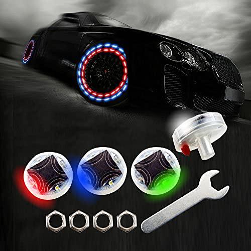 LEADTOPS Car Tire Wheel Lights, 4-pack Solar Energy Motion Sensors Flashing Colorful Gas Nozzle LED...