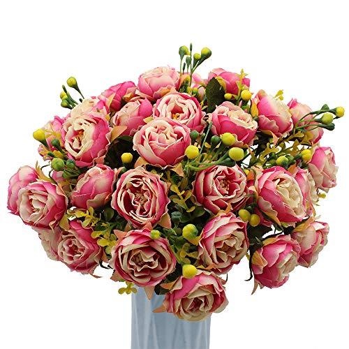 MZMing [4 Piezas] Flores de Peonía Artificial Flor de Peonía Falsa Arreglos Florales Ramo de Novia Flor de Seda con Brotes y Hojas para Casa Cocina Oficina Jardín Boda Fiesta Decoración - Rosado