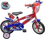 Kinderfahrrad, 12 Zoll, 2 bis 4 Jahre, mit 2 Bremsen, Kanister & Flaschenhalter, dekorative Vorderplatte, 2 Stabilisatoren + Helm Spiderman, für Jungen, Rot, 12 Zoll