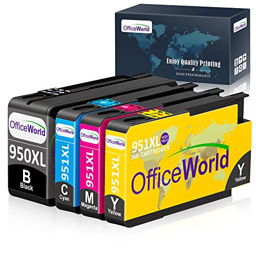 OfficeWorld Compatible Ink Cartridge Replacement for HP 950 951 950XL 951XL for HP Officejet Pro 8600 8610 8620 8630 8640 8100 8625 8615 251dw 271dw 276dw Printer (1 Black, 1 Cyan, 1 Magenta, 1Yellow)