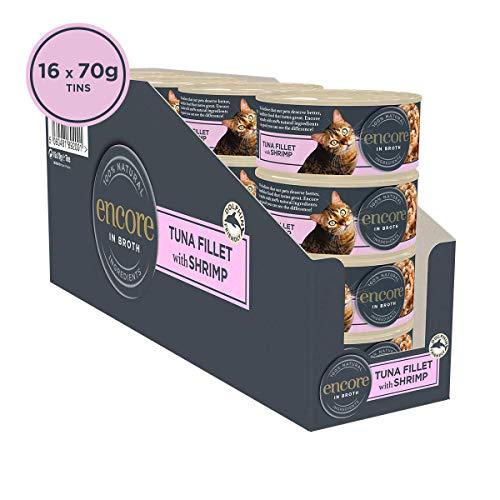 ENCORE 100% natürliches Katzenfutter Thunfisch mit Garnelen, in Brühdose, 70 g Dose (24 Stück)
