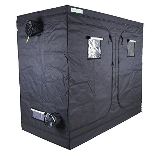 "Zazzy Grow Tent, 96""X48 X78 Plant Growing Tents 600D Mylar Hydroponic Indoor Grow Tent with Window, Kit Bag & Floor Tray"