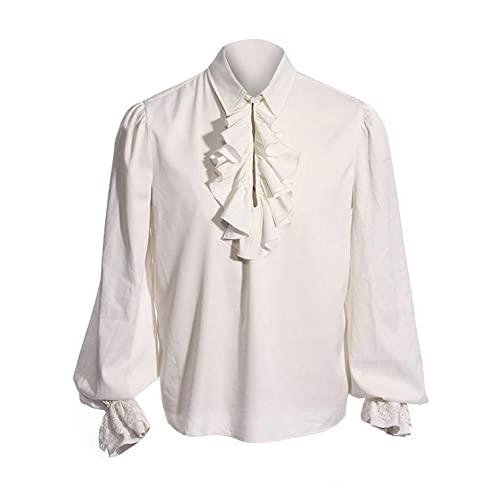 a150e3ed497b42 Pxmoda Men s Halloween Costumes Ruffled Gothic Steampunk Victorian Pirate  Cosplay Shirts