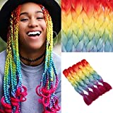 5 Piezas Color del arco iris Jumbo Extensiones de cabello trenzado Moda 4 tonos Colorido Xpression Kanekalon Pelo trenzado sintético 24 pulgadas (naranja rojo/amarillo/azul/púrpura)