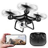 qianqian TXD-8S Drone con Cámara 1080P HD WiFi FPV Transmisión En Vivo RC Quadcopter, Tiempo De Vuelo Largo, Operación De La Aplicación, Control De Altitud, Volteo 3D, Compatible con VR,Negro