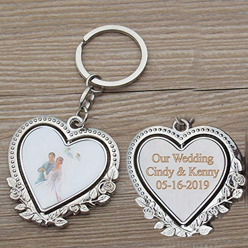 Personalized Spinning Wedding Keychain Favor (12 PCS) - Engraved Heat Metal Key Ring/Anniversary Customized Gift for Guests with Gift Bag