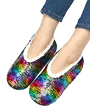 Womens Ballerina Sequin Slippers Bling House Slippers With Grippers Multi 8-10