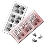 EYELASHEVOLUTION DIY Eyelash Extension, 12 Clusters Volume/Natural Eyelashes Set 3D Effect Glue Bonded Band Individual Lash Home Eyelash Extension, C curl Lashes Pack (16mm-Volume)