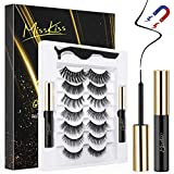 Magnetic Eyelashes with Eyeliner, 7 Pairs Reusable Magnetic Lashes, Magnetic Eyeliner and Lash kit with Tweezers for Daily Wedding Party - No Glue