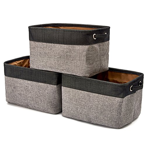 EZOWare Faltbare Aufbewahrungsbox aus Leinen Aufbewahrungskorb mit Griffen – 3er Set (Schwarz/Grau)