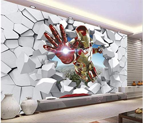 FangXUEPING 3D blik Iron Man Giant Wand Wand Wand Wand S Cool Foto Jongens kamer Decor Tv hal Kinderkamer Breite350cm s Höhe250cm Pro
