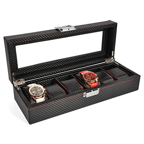 The perseids PU Leder Uhrenboxen, Uhren Storage Case, Für 6 Uhren, Leder-Optik Mit Glasdeckel