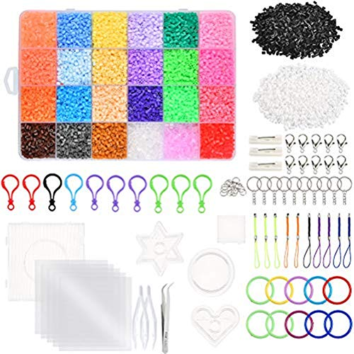 WOWOSS 13000 Cuentas Colores de 2,6 mm, Kit de Cuentas y Muchos Accesorios para Actividades Creativas y Manualidades Infantiles (24 Colores)