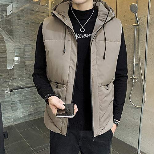 LYLY Vest Women Vest Men Solid Winter Jacket Warm Men's Outerwear Waistcoat Casual Vests Hooded Jacket Man Sleeveless Jackets Vest Warm (Color : Khaki, Size : 6XL)