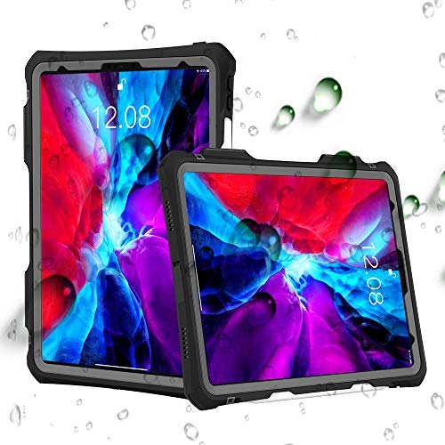 ShellBox Case New iPad Pro 11 inch 2020 Waterproof Case, Full-Body Heavy Duty Shockproof Protective Cover with Kickstand Built-in Screen Protector Pencil Holder Shoulder Strap (Black)