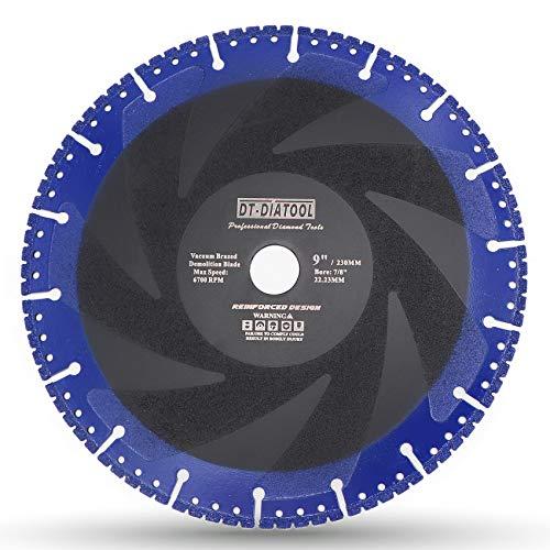 DT-DIATOOL Disco Diamante 230 x 22,23 mm Hoja de Sierra Multiusos para Hormigón Armado Metal Alu Rebar Hierro PVC Todos los Materiales Resistentes