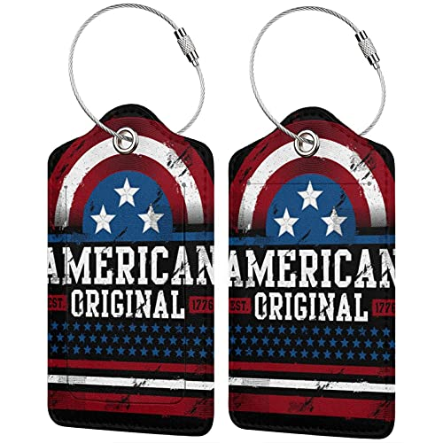 2 etiquetas de equipaje de la PU, etiquetas de la cubierta de la privacidad de la etiqueta de la identificación con el lazo de acero inoxidable para la maleta de viaje American Original Est