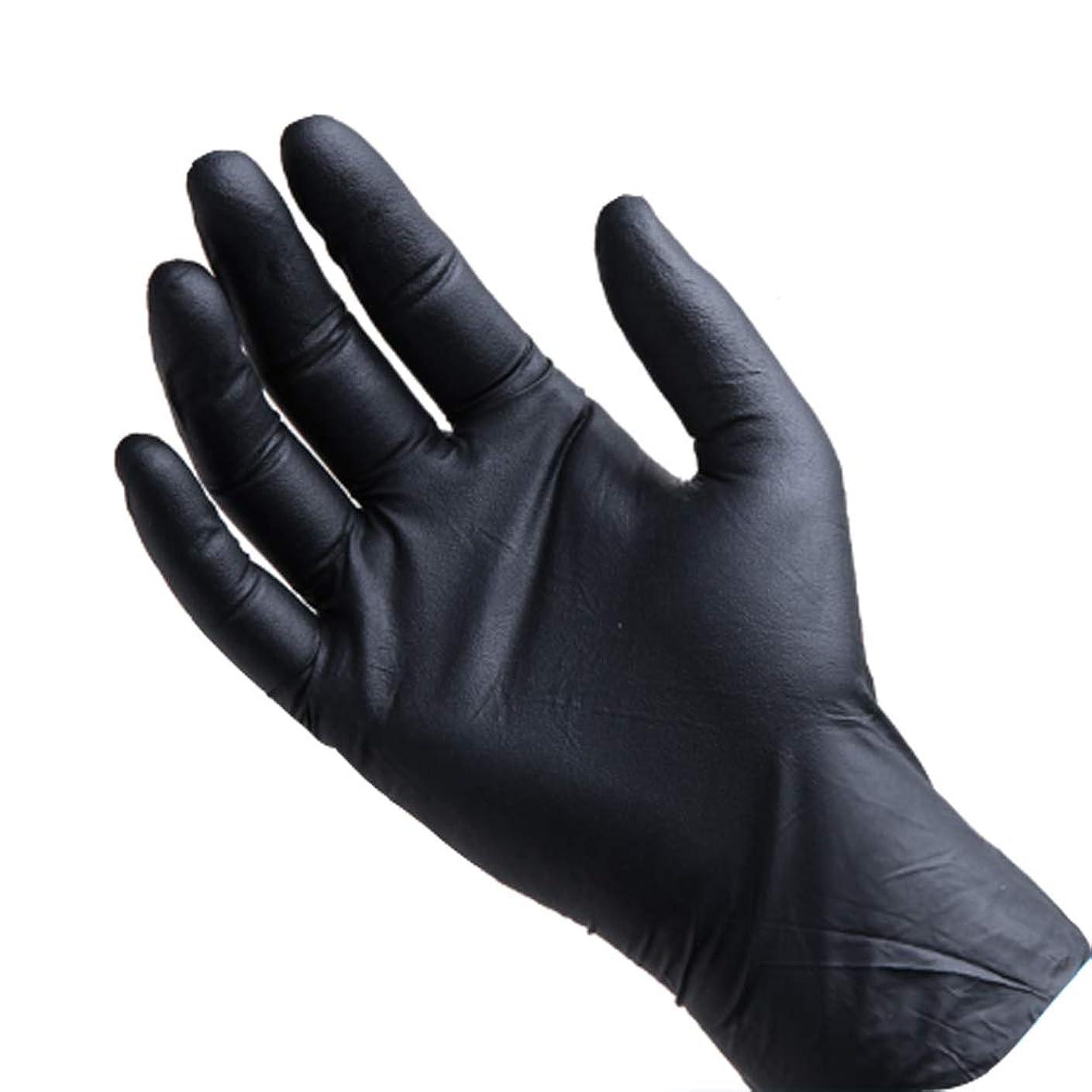 攻撃的豊富に慣らす使い捨てゴム手袋、ブラック(M / 100個)