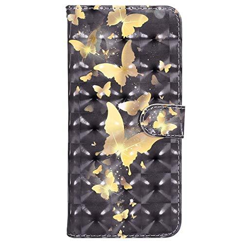 Ysimee Coque Samsung Galaxy J7 2017, Housse Étui à Rabat pour Galaxy J7 2017 Fermeture Magnétique Portefeuille en Cuir Effet 3D avec Porte Carte Fonction Support Téléphone Couverture,Papillon Doré