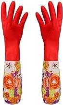 JYSL Velvet Flor De Goma Guantes Largos Guantes del Hogar Antideslizante For El Hogar Dish Lavan Guantes De Limpieza (Color : Red)