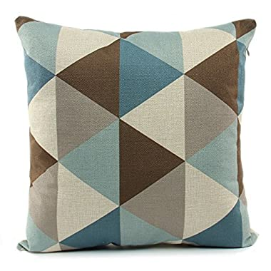 BXI 18 X 18 Inch Pillow Cover Cushion Case Home Couch Sofa Decoration Linen Brown