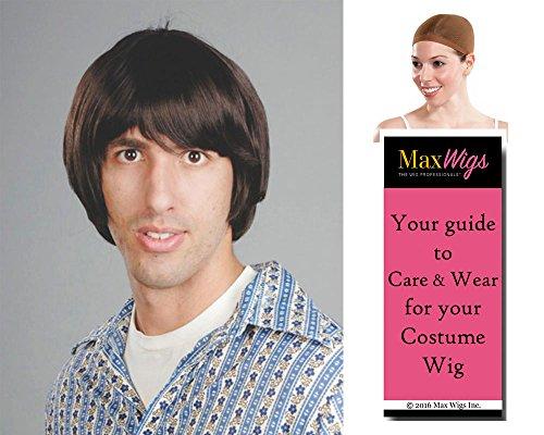 Hippie Boy Beatle Color Dark Brown - Enigma Wigs Bowl Cut Skater Tony Hawk Beetle Men's Bundle with Wig Cap, MaxWigs Costume Wig Care Guide