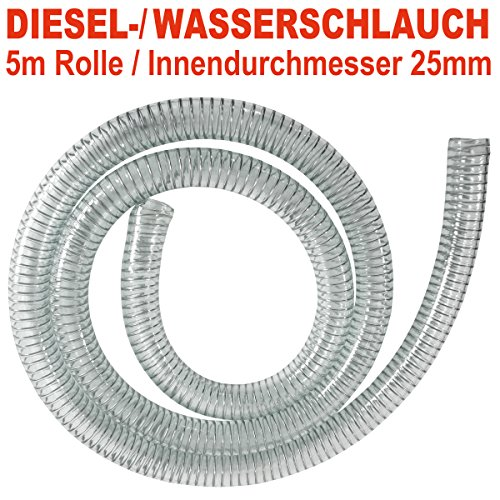 AMUR Dieselschlauch, Benzinschlauch für Ölpumpe, Ölschlauch, Spiralschlauch Saug-/Druckschlauch für Diesel Pumpe Heizöl Pumpe Wasserpumpe (Spiralschlauch 1 Zoll - 5m)