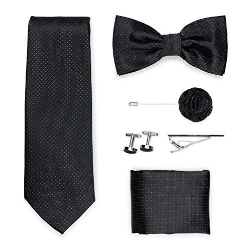 Puccini Exklusive Gentleman Geschenkbox mit Krawatte, Fliege, Einstecktuch, Krawattennadel, Manschettenknöpfe, Anstecknadel im klassischen Paisley-Muster (Anthrazit)