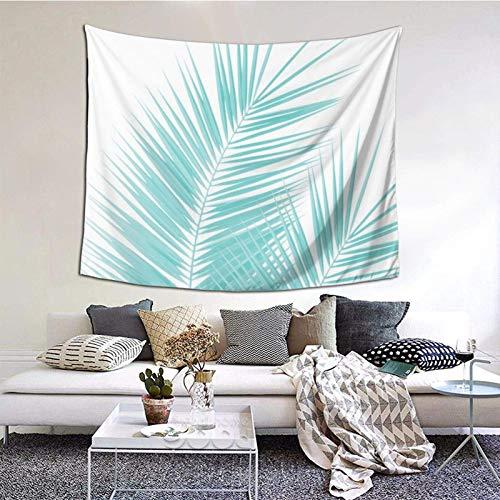 Tapiz para colgar en la pared, con hojas de palma, color turquesa suave, diseño de cali de verano, decoración tropical, 156 x 150 cm, para colgar en el dormitorio, sala de estar, decoración del hogar