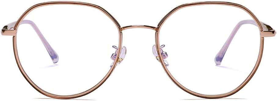 2020 VentiVenti Blue Light Blocking Round Lightweight Frame Glasses for Women Eyeglasses Anti Blue Ray Computer Game Glasses,Champagne Gold