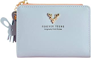 AHOMI Deer Girl Bifold Short Wallet Leather Clutch Women Card Holder for Adult Carry-on Ornaments and Collecting Light Blue
