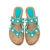 XQYPYL Sandalias de Mujer Bohemian Flor de Strass Plano Sandalias de Playa Zapatillas y Chanclas para Mujeres Zapatos Vestir de Fiesta,03,42